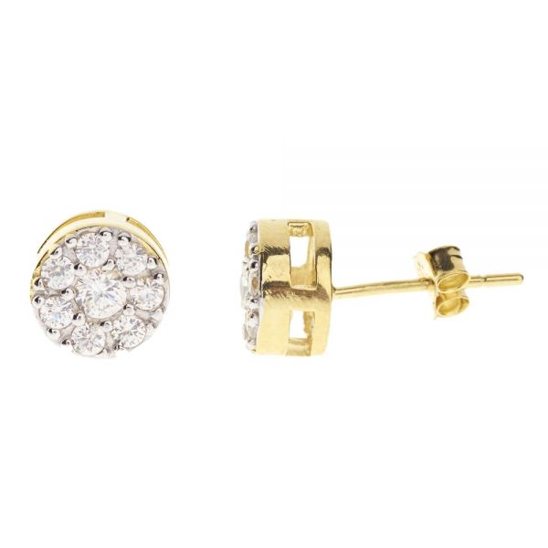 925 Sterling MICRO PAVE Ohrstecker - ROUND 8mm gold