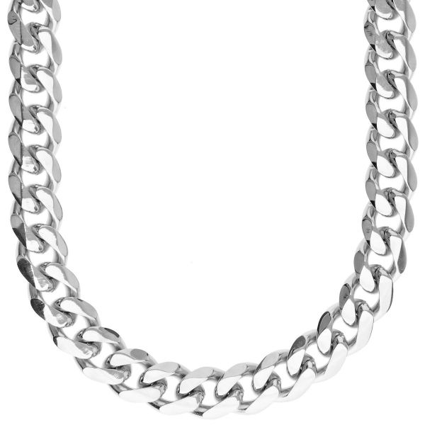 Iced Out Stainless Steel CURB Set - Chain & Bracelet silver