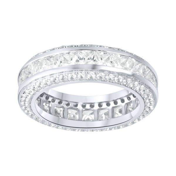 Sterling 925er Silber Pave Ring - FULL ICED ETERNITY