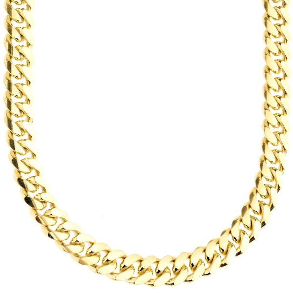 925 Sterling Silver Bling Chain - MIAMI CUBAN 8mm gold