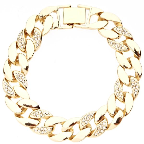 Iced Out BOLD CZ Hip Hop Armband - CURB 15mm gold