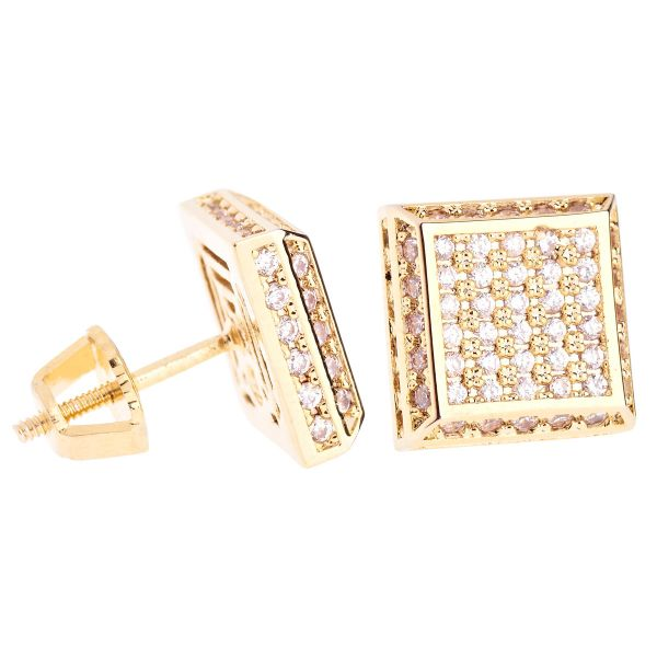 Iced Out Bling Micro Pave Ohrstecker - SLOPE 10mm gold