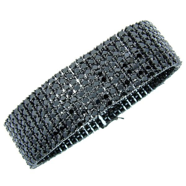Iced Out Bling Premium Bracelet - 8 ZIRCONIA ROWS black