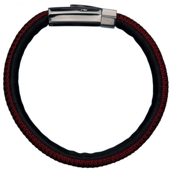 Schwarzes geflochtenes Lederband mit roten Stitch