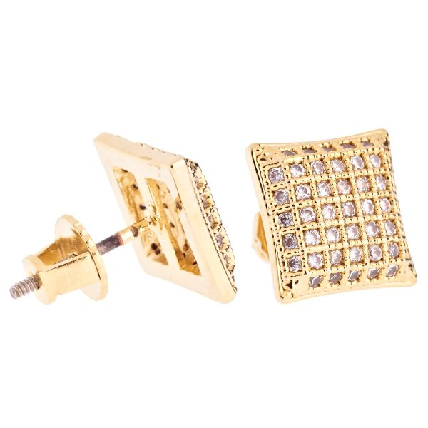 Iced Out Bling Micro Pave Earrings - PAD 10mm gold