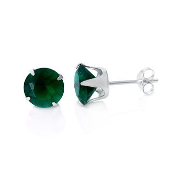 925 Sterling Silver Ear Stud - round / green