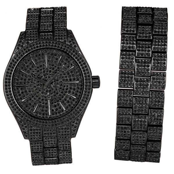 Full Iced Out Bling Uhr Armband Set - schwarz
