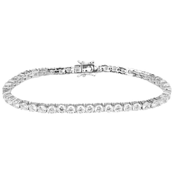 Iced Out Bling High Quality Bracelet - SILVER 1 ROW 4mm