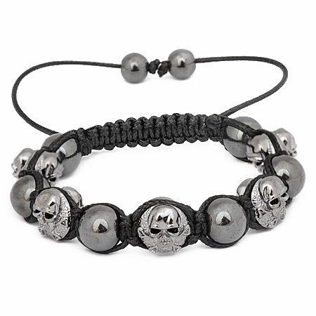 Unisex Bling Beads Bracelet - GUNMETAL SKULLS