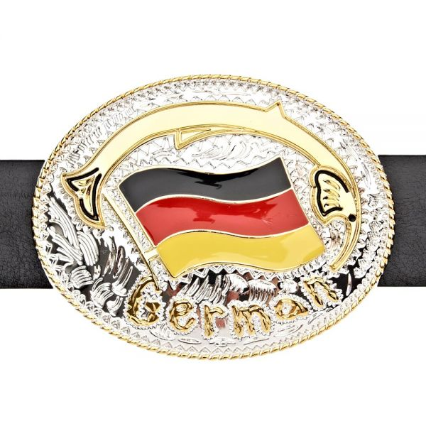 Iced Out FLAG Gürtel - GERMANY gold / silber
