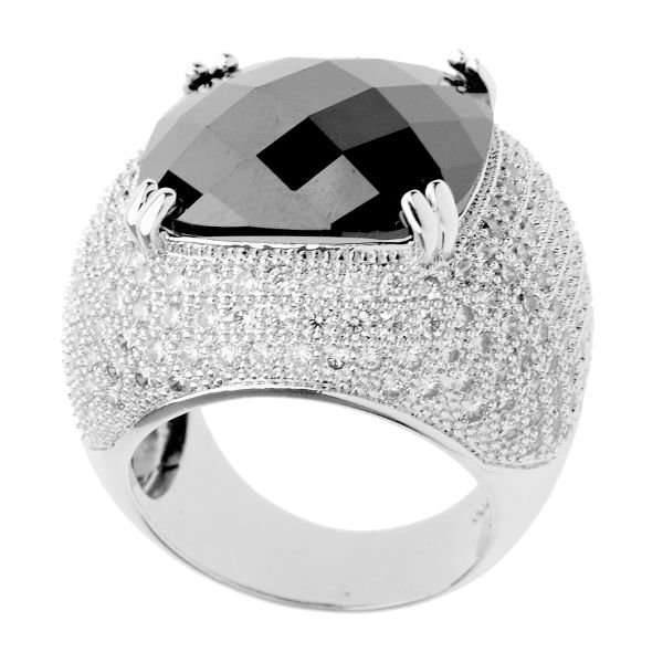 Iced Out Bling Micro Pave Ring - ROSE CUT silber