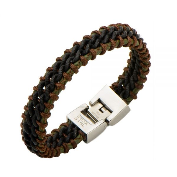 Herren Grün Braun Steel Leder Armband