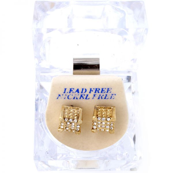 Iced Out Bling Ohrstecker Box - 3D DICE gold
