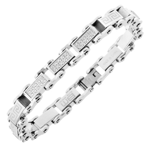 Master Stainless Steel Micro Pave CZ Bracelet - 10mm silve