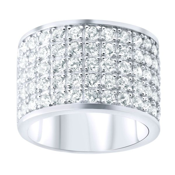 Sterling Silver STAR Ring - 5 Row Cubic Zirconia