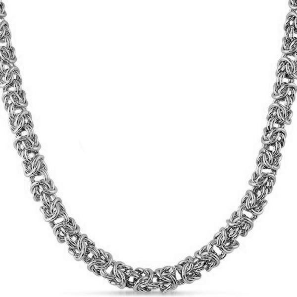 Iced Out Stainless Steel BYZANTINE Chain - 6mm silver