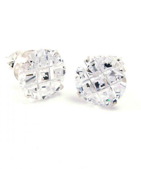 925 Sterling Silver Iced Out Ear Stud - ROUND DIAMOND CUT