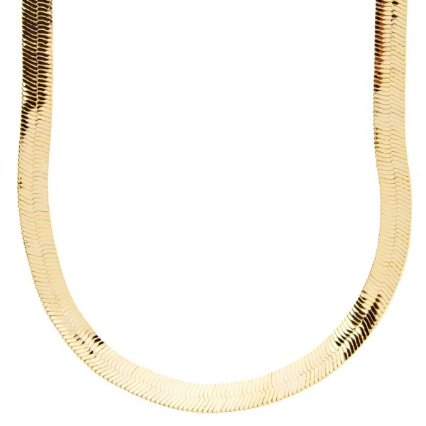 Iced Out Bling HERRING BONE Hip Hop Chain - 6mm gold
