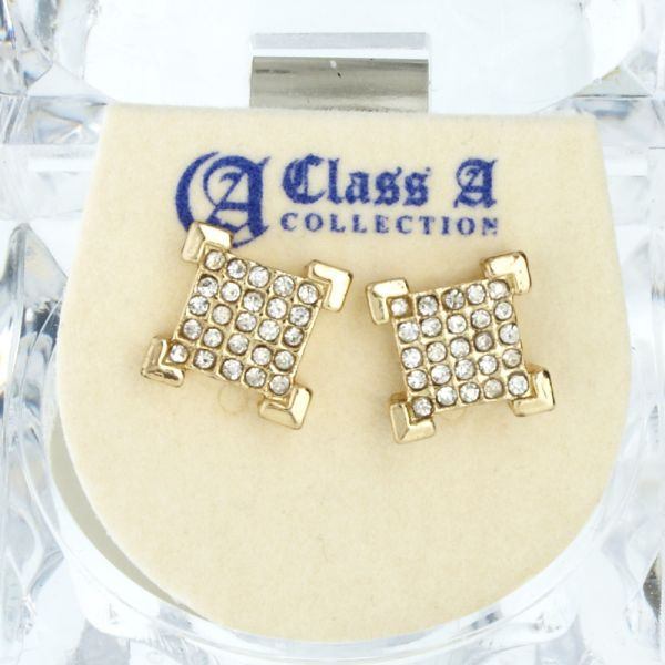 Iced Out Bling Ohrstecker Box - EDGE gold