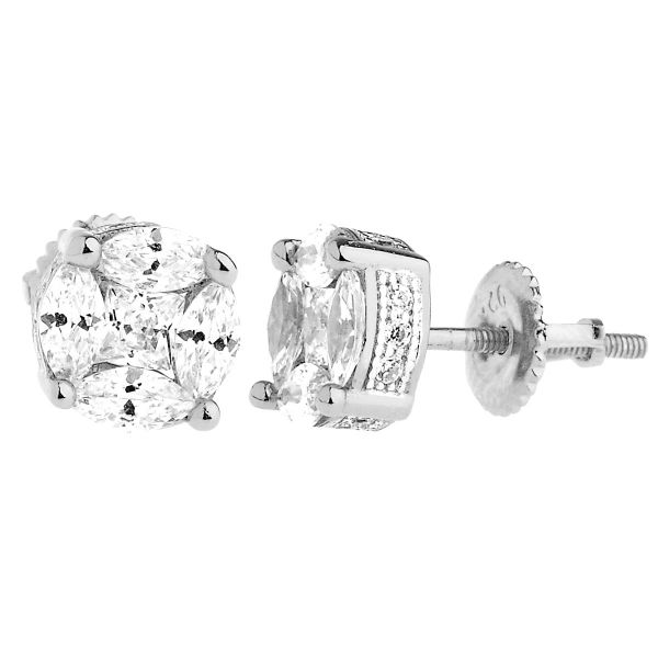925 Sterling Silver Bling Zirconia Earrings - CLUSTER 8mm