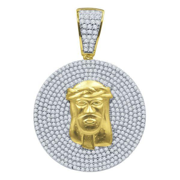 925 Sterling Silber 3D Anhänger - SAINTLY JESUS Medallion