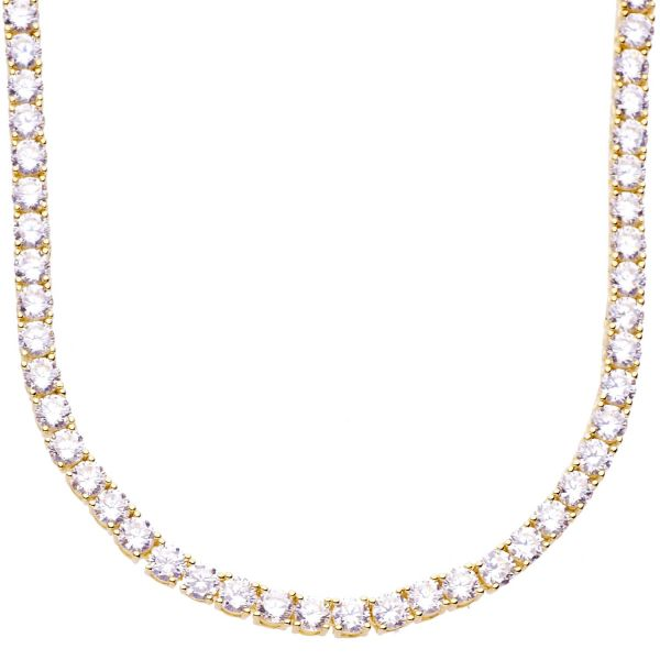 Premium Bling - Sterling 925 Silver CZ Necklace - 4mm gold