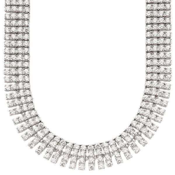 Iced Out Bling ZIRCONIA STONE 4 ROW Kette - silber