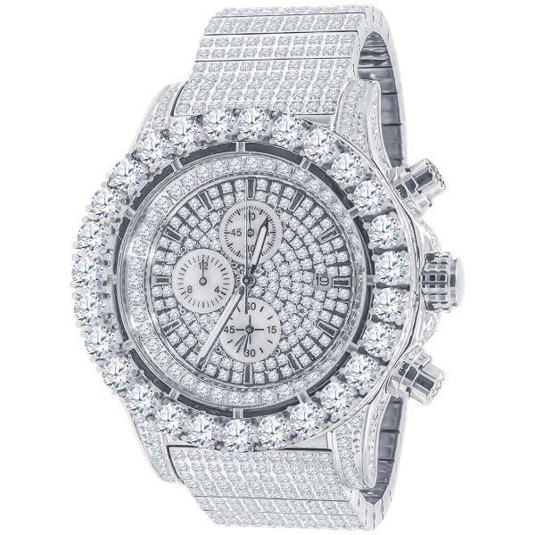 High Quality FULL ICED OUT Zirkonia Edelstahl Uhr - silber