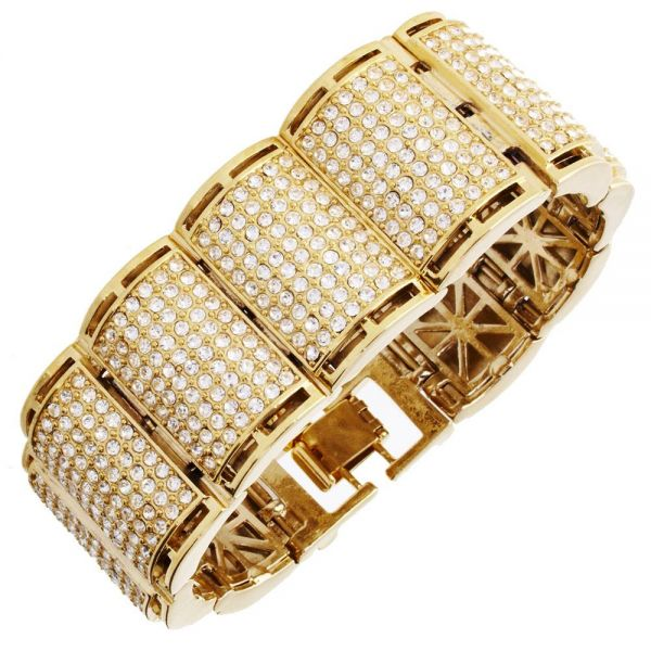 Iced Out Bling Hip Hop Bracelet Armband - RICK gold