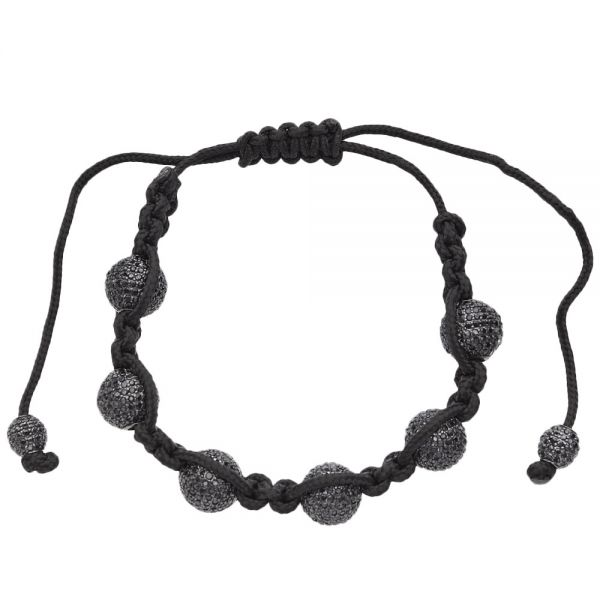 Micro Pave Beads BALL Armband - schwarz