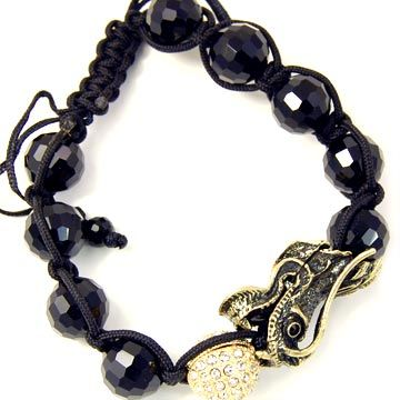 Unisex Bling Bracelet - DISCO BALL ONYX DRAGON gold II