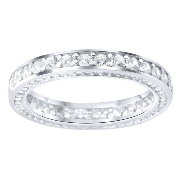 Sterling 925 Silver Pave Ring - Eternity Zirconia Band