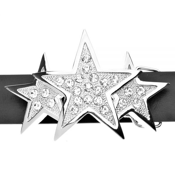 Iced Out Bling Belt - TRIPLE STAR silver