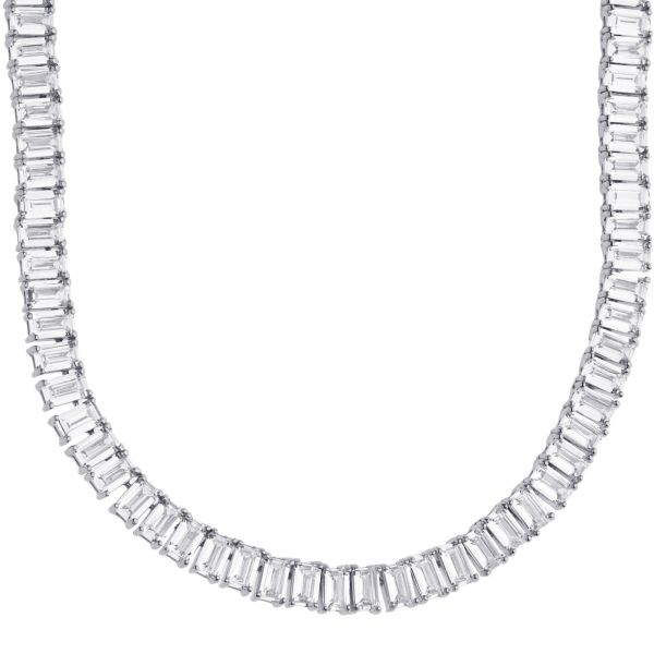 Sterling 925er Silver Baguette CZ Tennis Chain 5mm