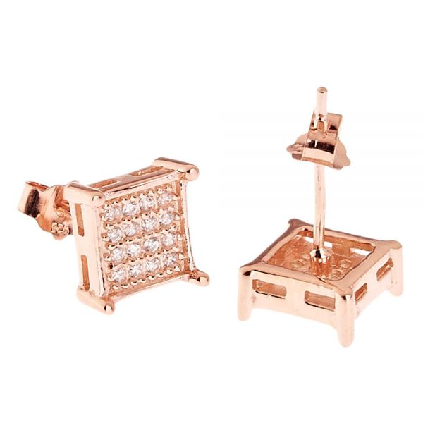 925 Sterling MICRO PAVE Ohrstecker - SQUARE 8mm rose rotgold