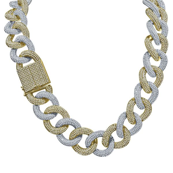 Iced Out Bling Zirconia Chain - MESMERIC Cuban 25mm gold