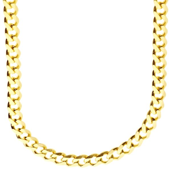 925 Sterling Silver Bling Chain - CURB 6.7mm gold