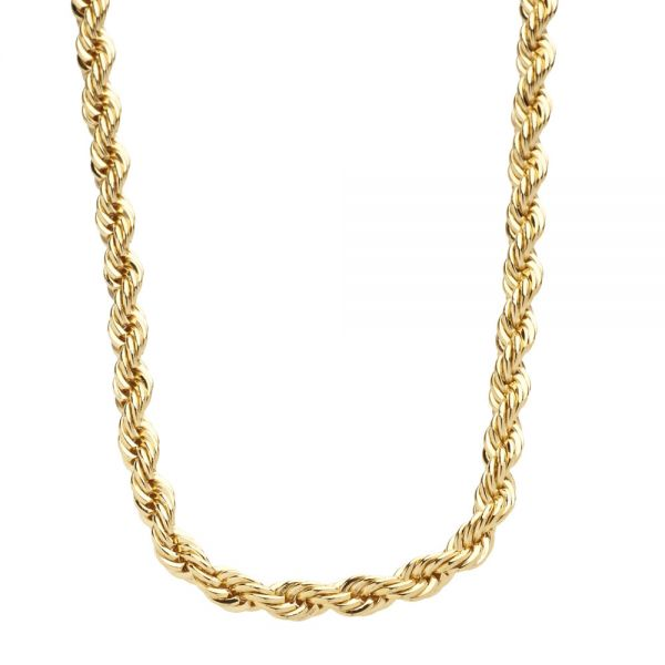 Iced Out Bling Edelstahl Rope Kordelkette - 4mm 90cm gold