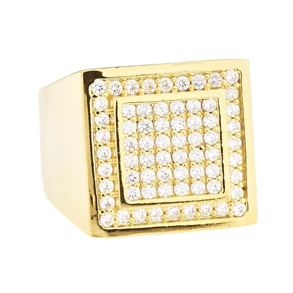 Iced Out Bling Micro Pave Designer Ring - DOME 15mm gold