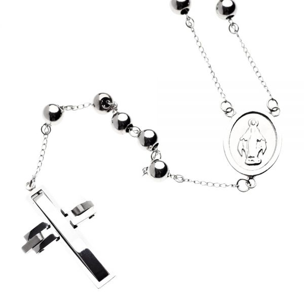 Iced Out Stainless Steel Rosary Chain - CROSS silver