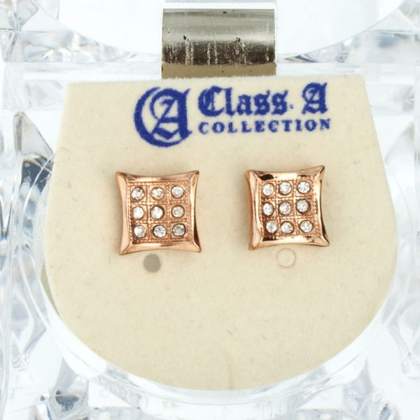 Iced Out Bling Ohrstecker Box - KITE 8mm rose gold
