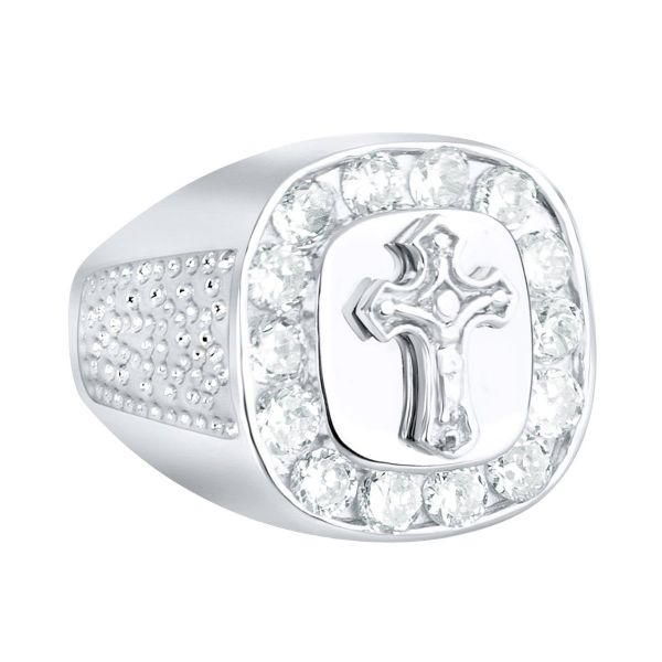 Sterling 925 Silver Pave Ring - CROSS