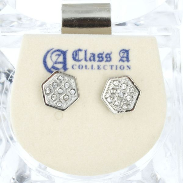 Iced Out Bling Ohrstecker Box - HEXAGON 8mm