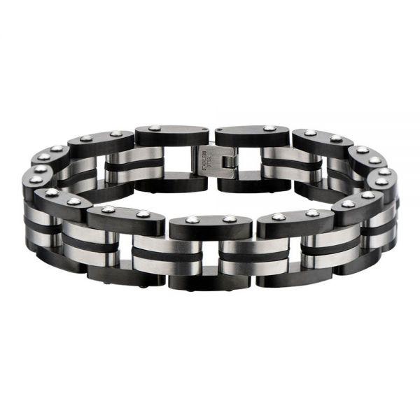 Herre Edelstahl IP Schwarz Gummi Armband