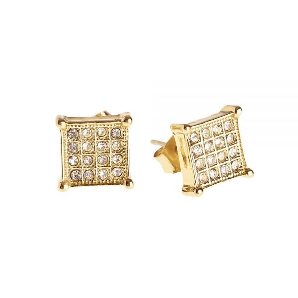 Iced Out Bling Ohrstecker Box - SQUARE 8mm gold