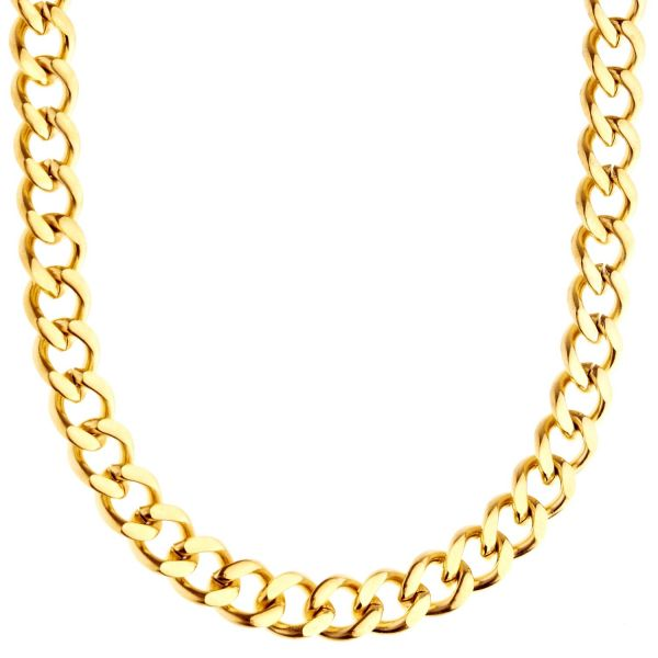 Iced Out Stainless Steel Curb Chain - CUBAN 8mm gold