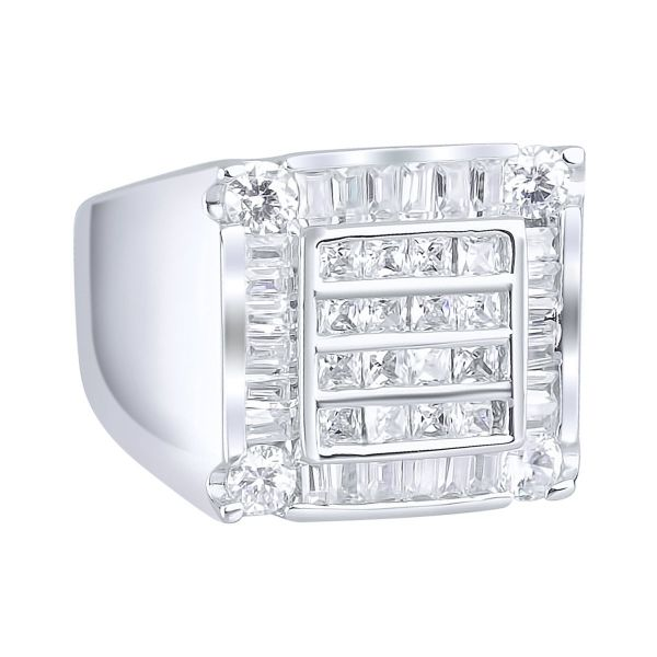 Sterling 925er Silber Pave Ring - CUBE