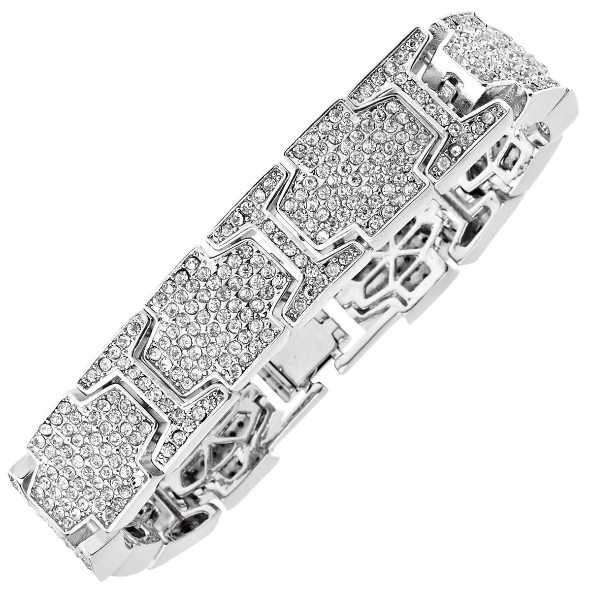 Iced Out Bling Hip Hop Diamond Bracelet Ice Link