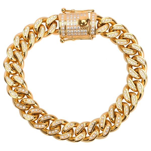 Iced Out Edelstahl CZ Panzerkette Armband - CUBAN 12mm gold
