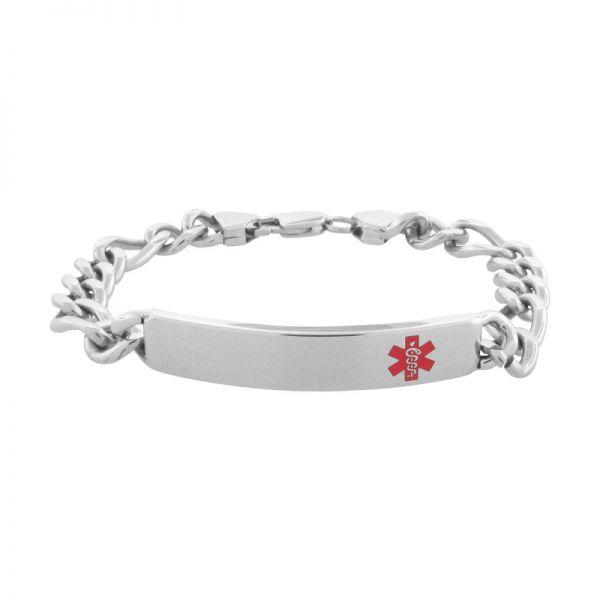 Men's Stainess Steel Red Caduceus Medical Alert Bracelet